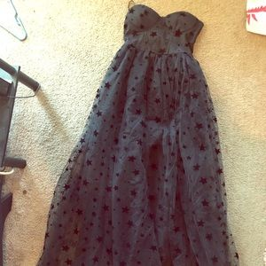 Black long formal dress with stars